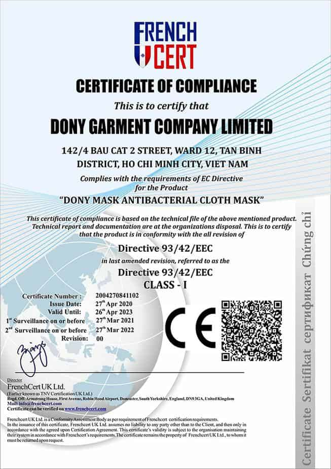 1 DONY MASK OFFICIAL CE CERTIFICATE FROM FRENCH CERT UK