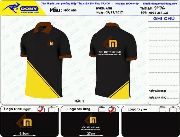 1 Produce uniforms for the Moc Anh Furniture Company