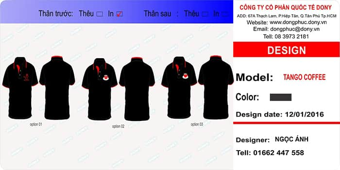 3 Delivery uniform shirt cafe in Phu Quoc Island