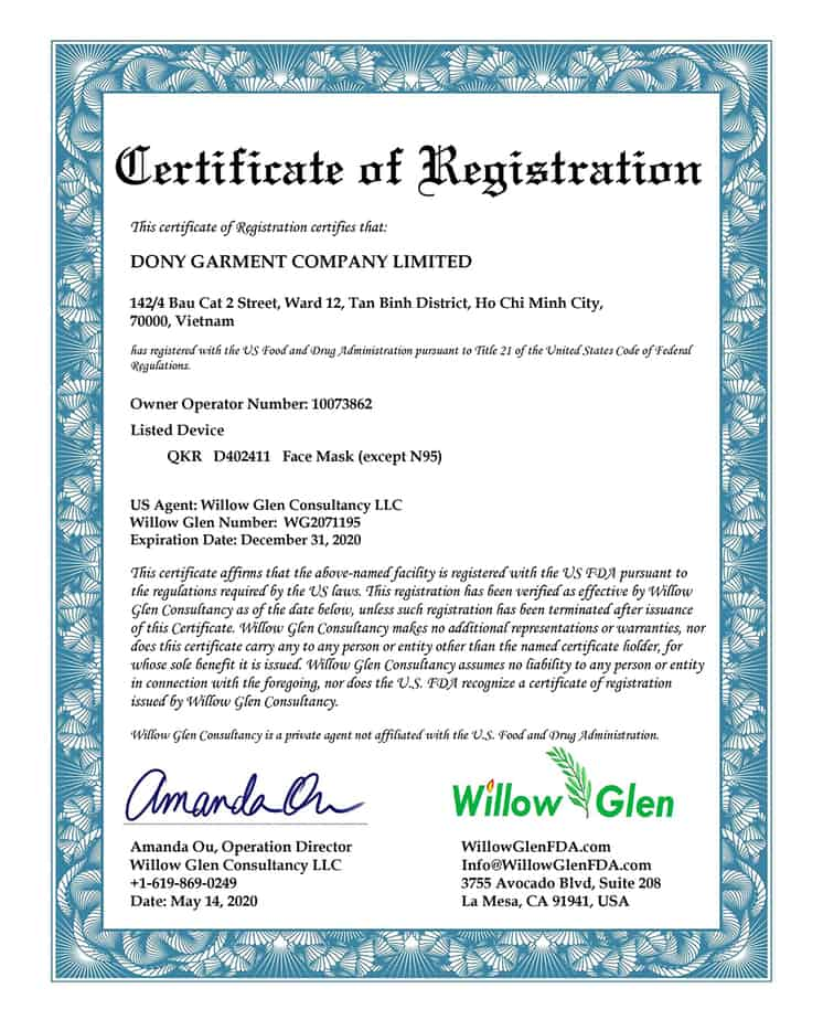 DONY GARMENT Certificate of Registration