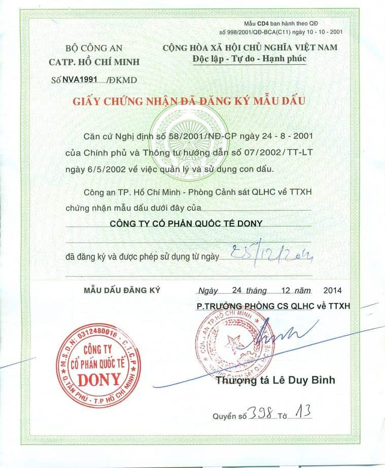 dony certificate of registered seal