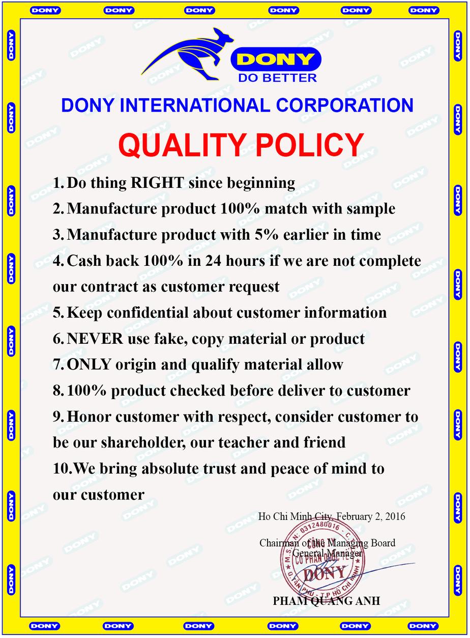 quality policy dony garment vietnam
