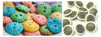 Food shaped buttons and multi component buttons