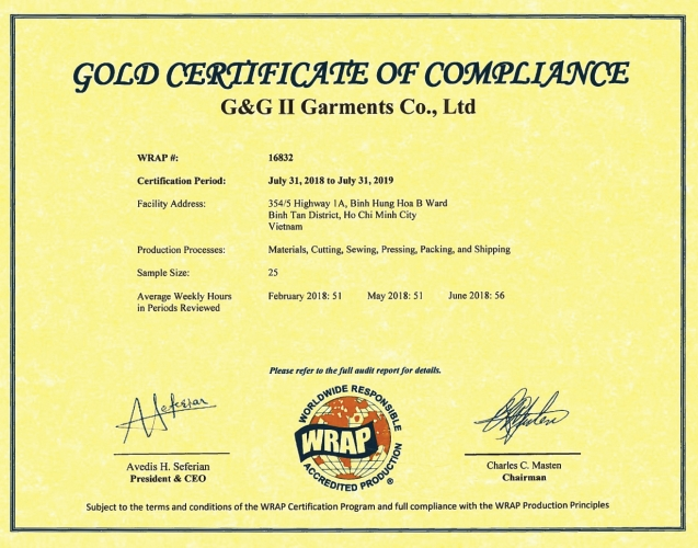 Gold Certificate Of Compliance For G&G II