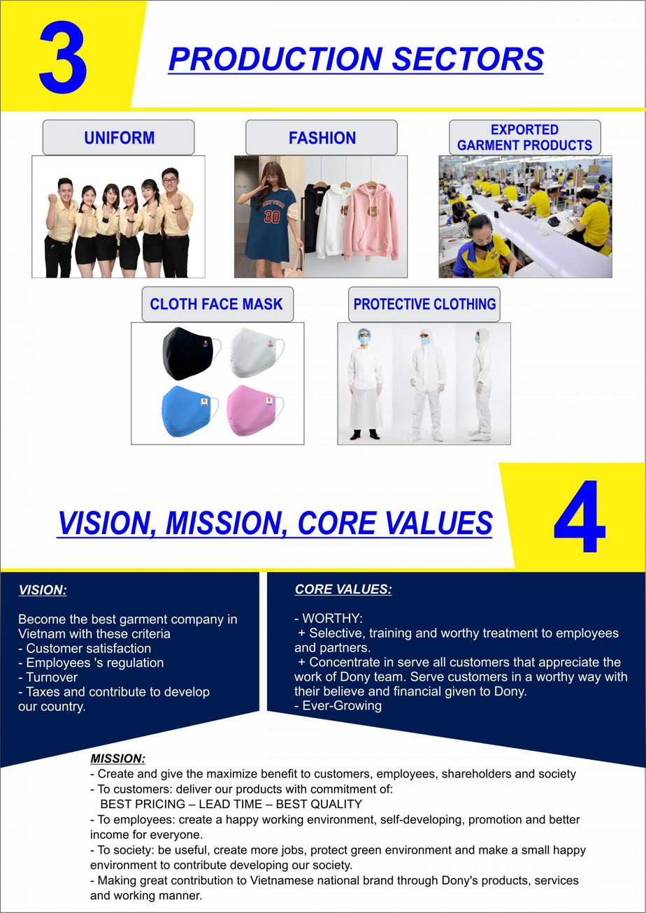 Production Sectors Of Dony Garment Company Limited